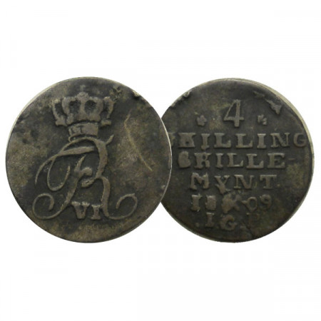 "1809  * 4 Skilling Argento Norvegia ""Federico VI - Monogram "" (KM 276) MB"