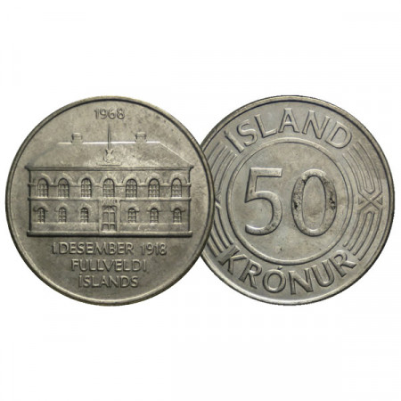 "1968 * 50 Kronur Islanda ""50th Anniversary - Sovereignty"" (KM 16) SPL"