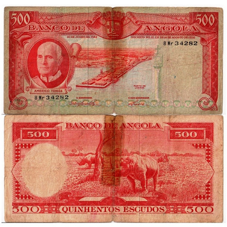 """1962 * Banconota Angola 500 Escudos """"Américo Tomás"""" (p95) B"""