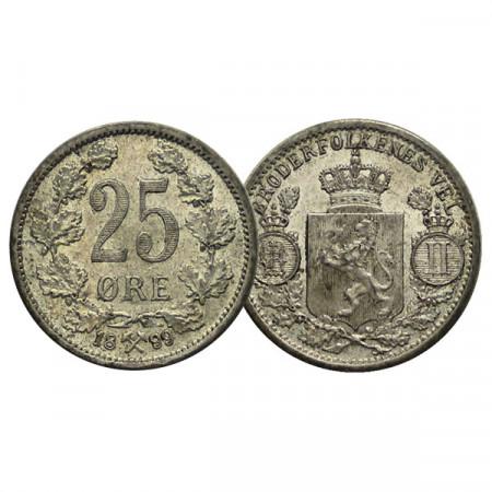 """1899 * 25 Ore Norvegia """"Oscar II - Norwegian Coat of Arms"""" (KM 360) SPL+"""