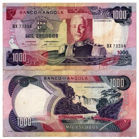 """1972 * Banconota Angola 1000 Escudos """"M Carmona"""" (p103) qBB"""