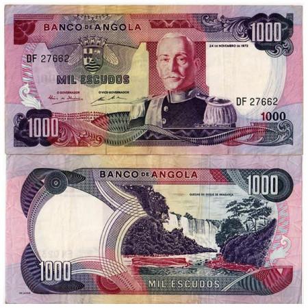 """1972 * Banconota Angola 1000 Escudos """"M Carmona"""" (p103) BB"""