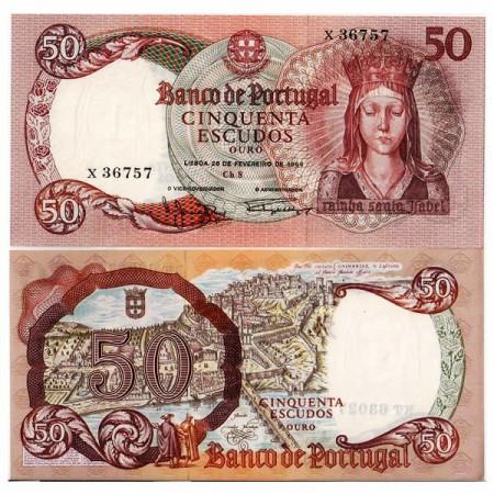 """1964 * Banconota 50 Escudos Portogallo """"Queen Isabella"""" (p168) FDS"""