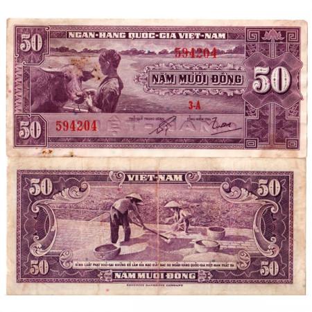 "ND (1956) * Banconota Vietnam del Sud 50 Dong ""Water Buffalo"" (p7a) BB"