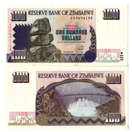 """1995 * Banconota Zimbabwe 100 Dollars """"Chiremba Rocks"""" (p9a) FDS"""