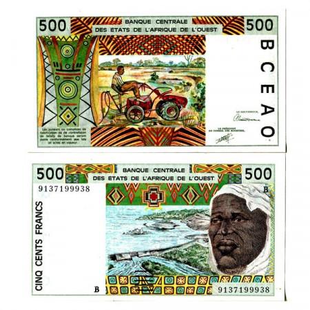 "1991 B * Banconota Stati Africa Occidentale ""Benin"" 500 Francs ""Tractor"" (p210Ba) FDS"