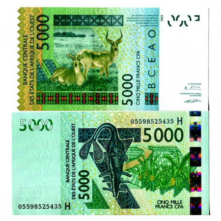 "2003 (2005) H * Banconota Stati Africa Occidentale ""Niger"" 5000 Francs ""Antelopes"" (p617Hc) FDS"