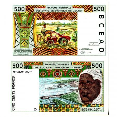 "1997 D * Banconota Stati Africa Occidentale ""Mali"" 500 Francs ""Tractor"" (p410Dg) FDS"