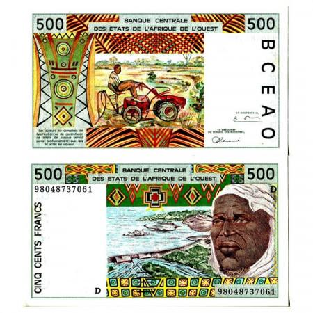 "1998 D * Banconota Stati Africa Occidentale ""Mali"" 500 Francs ""Tractor"" (p410Di) FDS"