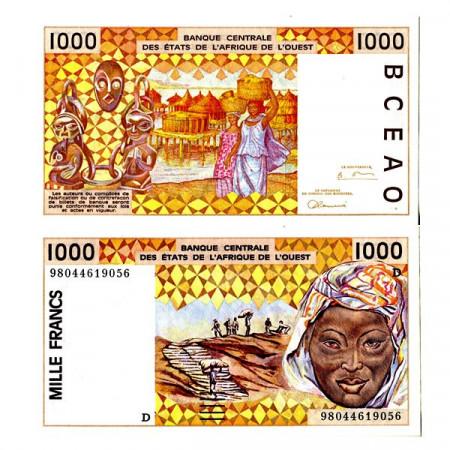 "1998 D * Banconota Stati Africa Occidentale ""Mali"" 1000 Francs ""Peanuts Hauling"" (p411Dh) FDS"