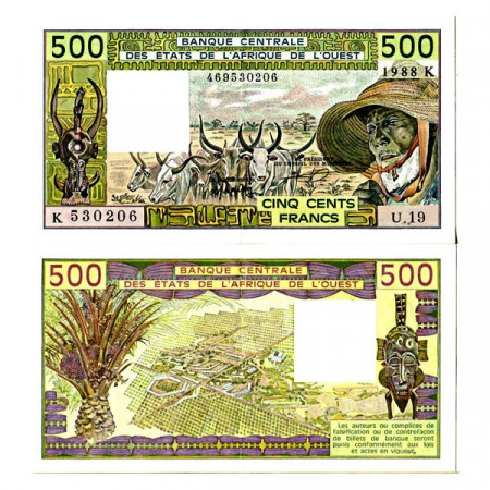 "1988 K * Banconota Stati Africa Occidentale ""Senegal"" 500 Francs ""Zebus"" (p706Ka) SPL"