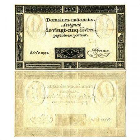 "1793 * Banconota Francia 25 Livres ""Assignat-Domaines Nationaux"" (pA71) SPL"