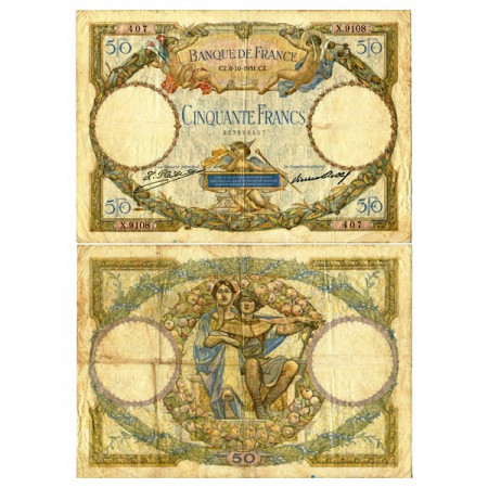 "1931 * Banconota Francia 50 Francs ""Luc Olivier Merson"" (p80a) MB"