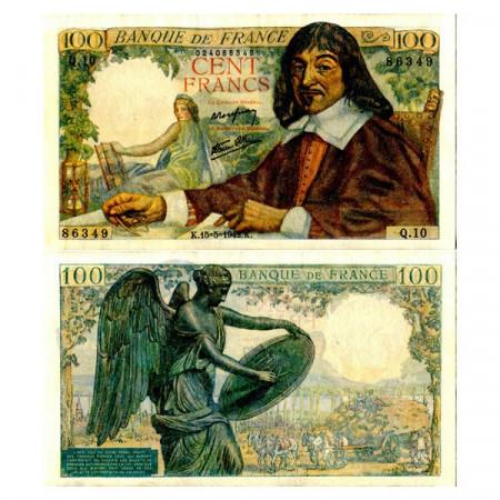 """1942 * Banconota Francia 100 Francs """"Descartes"""" (p101a) qFDS"""