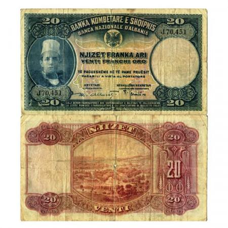 "ND (1926) * Banconota Albania 20 Franka Ari ""Regno Albanese"" (p3a) MB"