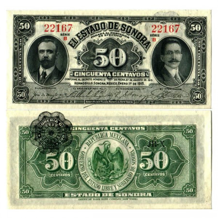 "1915 * Banconota Messico - Rivoluzione Messicana 50 Centavos ""Estado de Sonora"" (pS1070) FDS"