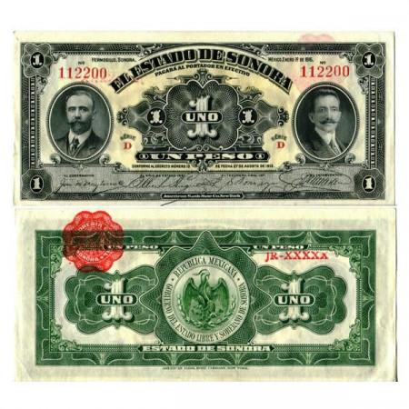 """1915 * Banconota Messico - Rivoluzione Messicana 1 Peso """"Estado de Sonora"""" (pS1071) FDS"""