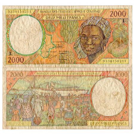 "1993 L * Banconota Stati Africa Centrale ""Gabon"" 2000 Francs (p403La) qBB"