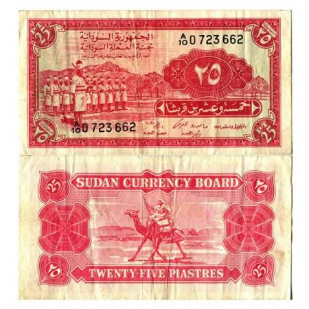 "1956 * Banconota Sudan 25 Piastres ""Soldiers - Camel"" (p1A) BB"