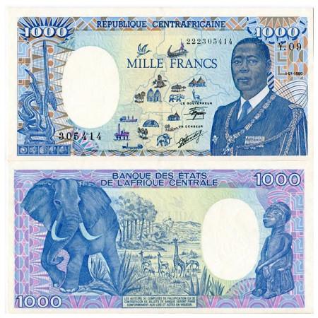 "1990 * Banconota Repubblica Centrafricana 1000 Francs ""André Kolingba"" (p10) qFDS"
