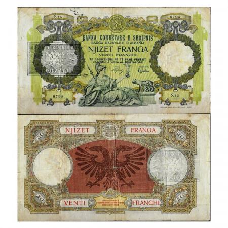 "ND (1945) * Banconota Albania 20 Franga ""Overprint - Repubblica Popolare"" (p13) MB"
