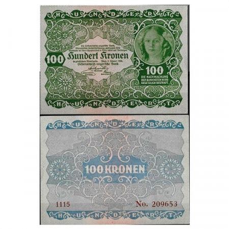 """1922 * Banconota Austria 100 Kronen """"Woman"""" (p77) FDS"""