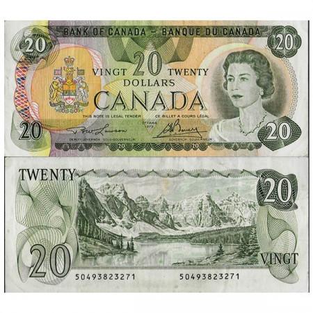 """1979 * Banconota Canada 20 Dollars """"Elizabeth II"""" (p93a) BB+"""