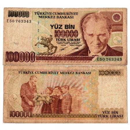 """L.1970 (1991) * Banconota Turchia 100.000 Lira """"Kemal Atatürk"""" (p205) MB"""
