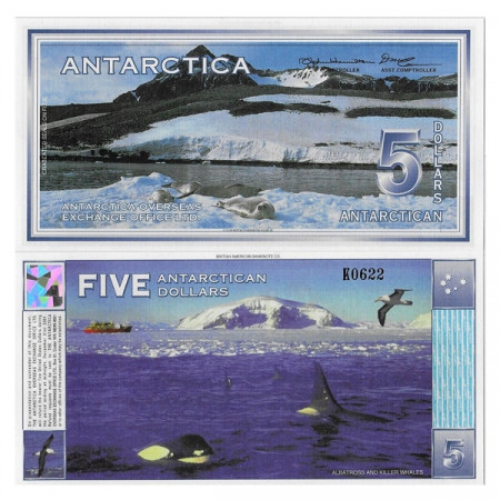 "1996 * Banconota Antarctica 5 Antarctican Dollars ""Killer Whales"" FDS"