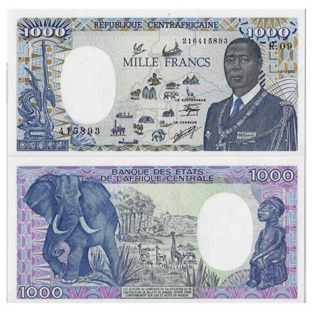"1990 * Banconota Repubblica Centrafricana 1000 Francs ""President Kolingba"" (p16) FDS"