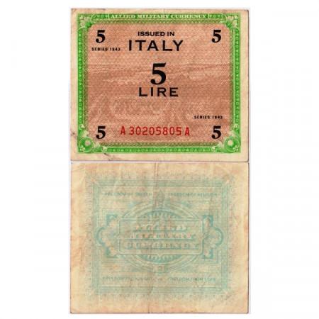 """1943 * Banconota Italia 5 AM Lire """"Occupazione Americana - FLC"""" (A1108 pM12a) BB"""