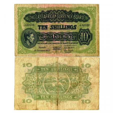 """1952 * Banconota East Africa - Africa Orientale 10 Shillings """"George VI"""" (p29b) MB+"""