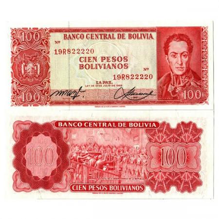 """L. 1962 * Banconota Bolivia 100 Pesos Bolivianos """"S Bolivar"""" (164a) FDS"""