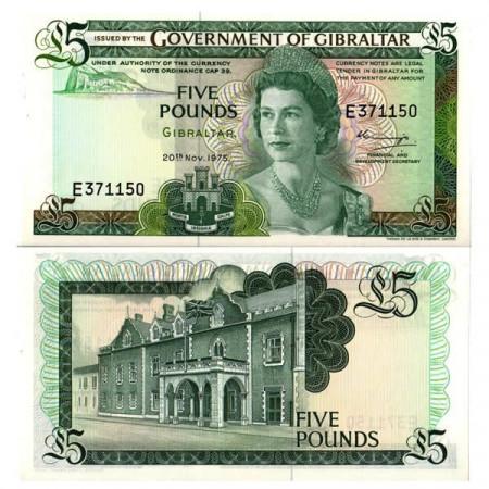 "1975 * Banconota Gibilterra 5 Pounds ""Elizabeth II"" (p21a) FDS"