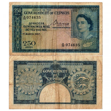 "1957 * Banconota Cipro 250 Mils ""Elisabetta II"" (p33a) qBB"