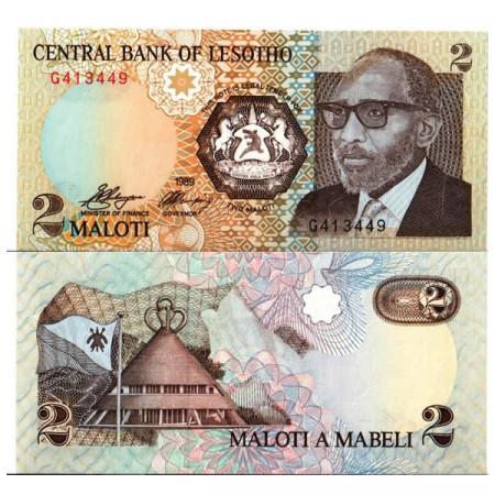 "1989 * Banconota Lesotho 2 Maloti ""King Moshoeshoe II"" (p9a) FDS"