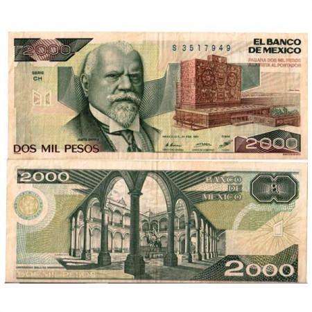 """1987 * Banconota Messico 2000 Pesos """"Justo Sierra"""" (p86b) BB"""