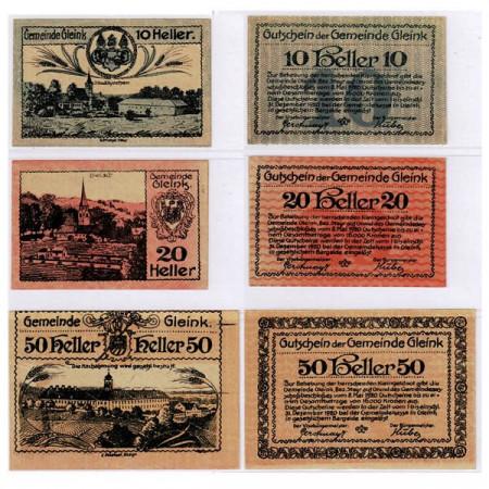 """1920 * Set 3 Notgeld Austria 10 . 20 . 50 Heller """"Alta Austria – Gleink"""" (FS 237a)"""