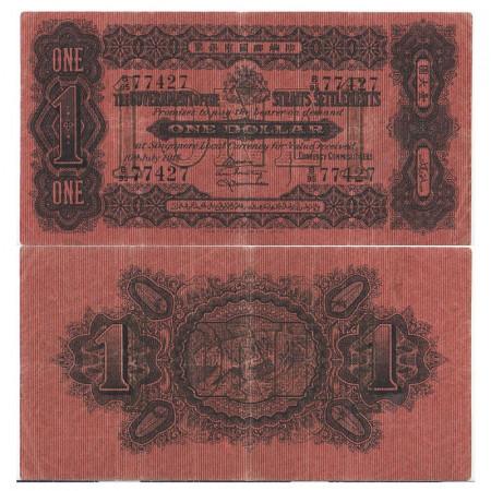 """1916 * Banconota Insediamenti dello Stretto (Straits Settlements) 1 Dollar """"George V - Tiger"""" (p1c) BB"""