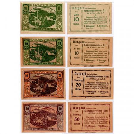 """1920 * Set 4 Notgeld Austria 10 . 20 . 50 Heller """"Bassa Austria – Ertl"""" (FS 185a)"""