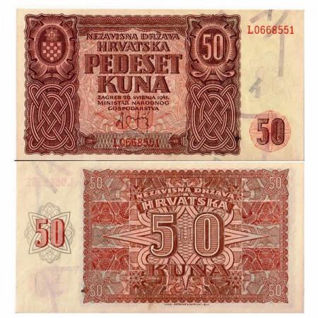 "1941 * Banconota Croazia 50 Kuna ""Stato Indipendente"" (p1) qFDS"