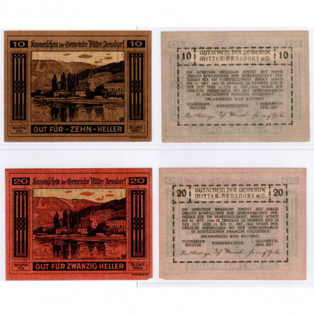 "1920 * Set 2 Notgeld Austria 10 . 20 Heller ""Bassa Austria – Mitter-Arnsdorf"" (FS 617a )"