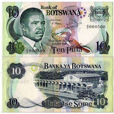 """ND (1982) * Banconota Botswana 10 Pula """"Quett Masire"""" (p9a) FDS"""