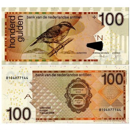 """2006 * Banconota Antille Olandesi 100 Gulden """"Cereba Gialla"""" (p31d) FDS"""
