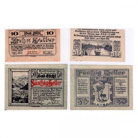 """1920 * Set 2 Notgeld Austria 10 . 50 Heller """"Alta Austria – Bad Ischl"""" (FS 77)"""