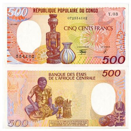"1990 * Banconota Congo Repubblica Popolare 500 Francs ""Man Carving"" (p8c) FDS"