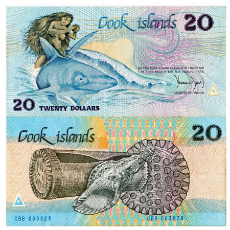 """ND (1987) * Banconota Cook Islands 20 Dollars """"Ina and Shark"""" (p5a) SPL"""