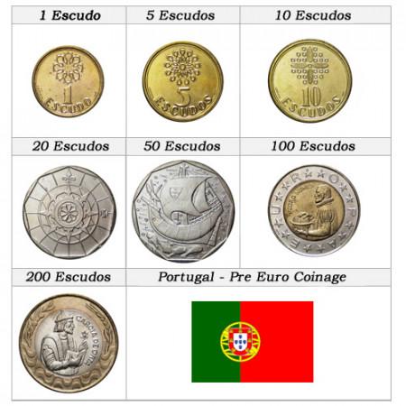 """1986-01 * Serie 7 Monete Portogallo """"Pre-Euro - Escudos"""" UNC"""