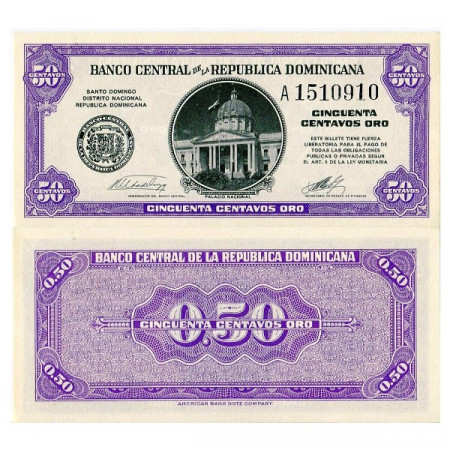 "ND (1961) * Banconota Repubblica Dominicana 50 Centavos Oro ""Palacio Nacional"" (p89a) FDS"