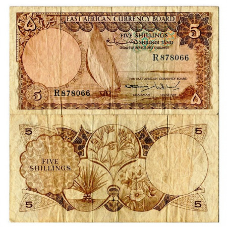 """ND (1964) * Banconota East Africa - Africa Orientale 5 Shillings """"Sailing Boat"""" (p45) qBB"""